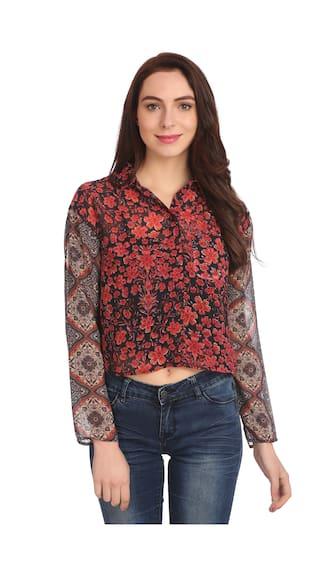 Etru Women's Printed Black;White;Red Crepe Shirt- L