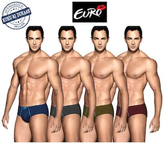 Euro Solid Briefs - Multi ,Pack Of 4