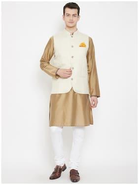 EVEN  Men Cotton Woven Design White  Nehru Jacket