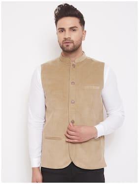 EVEN Men Beige Striped Regular Fit Ethnic Jacket