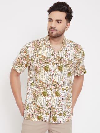 EVEN Men Green Printed Slim Fit Casual Shirt