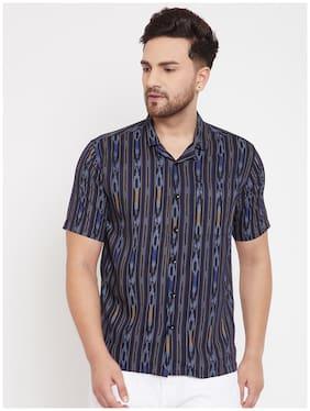EVEN Men Navy Blue Printed Slim Fit Casual Shirt