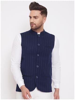 Even Men Polyviscose Nehru Jacket (Navy Blue)