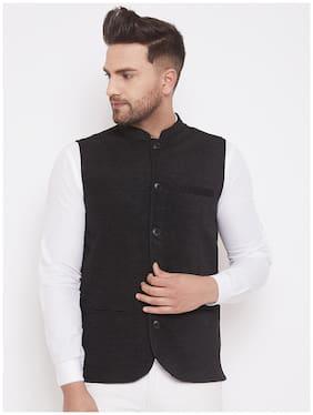 EVEN Men Black Solid Regular Fit Ethnic Jacket