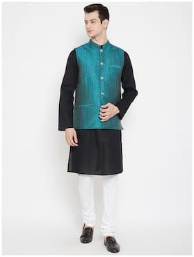 Men Woven Design Silk Blend Ethnic Jacket Pack Of 1