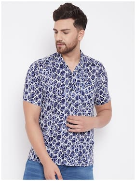 EVEN Men Blue Printed Slim Fit Casual Shirt
