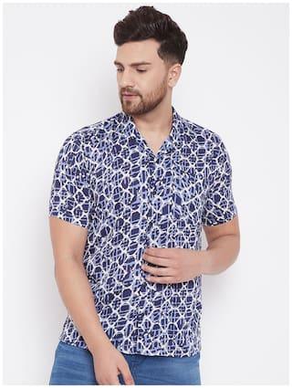 EVEN Men Blue Printed Slim Fit Casual Shirt