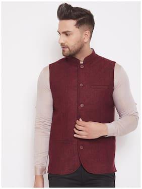 EVEN Men Maroon Solid Regular Fit Ethnic Jacket