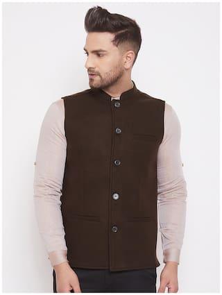 EVEN Men Brown Solid Regular Fit Ethnic Jacket