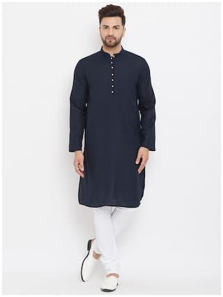 Even Navy Blue Cotton Solid Kurta For Men