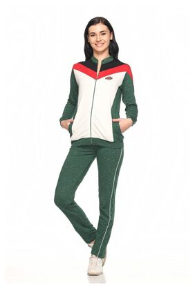 Ex10sive Fleece Green-offwhite-red Active Wear Tracksuit