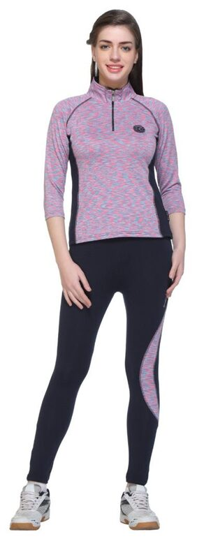 EX10SIVE Multicolor POLYSTER LYCRA FABRIC 3/4 Sleeve Tracksuit for Women