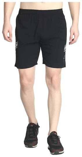 Exceedsports Polyester Solid Black Sports Shorts  For Men