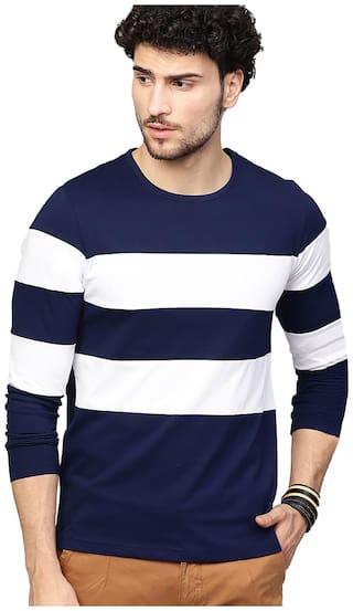 EYEBOGLER Men Blue & White Regular fit Cotton Round neck T-Shirt - Pack Of 1