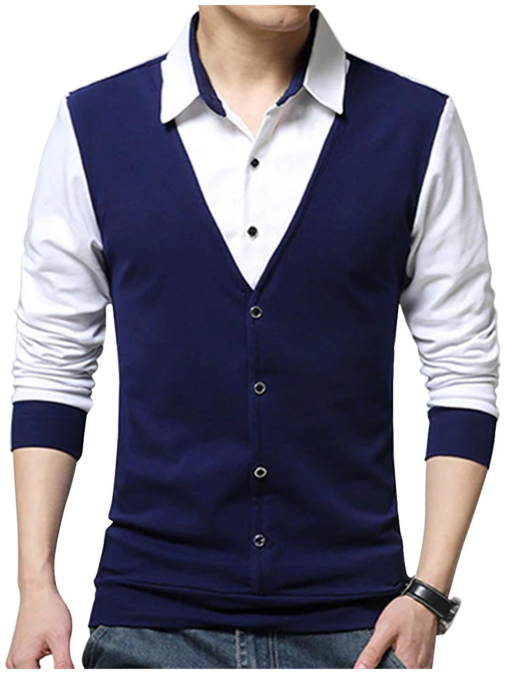 EYEBOGLER Cotton Colorblocked Blue & White Color T-Shirt For Men