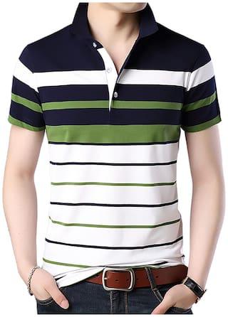 EYEBOGLER Men White Regular fit Cotton Polo collar T-Shirt - Pack Of 1