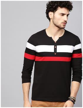 EYEBOGLER Men Black Regular fit Cotton Henley neck T-Shirt - Pack Of 1