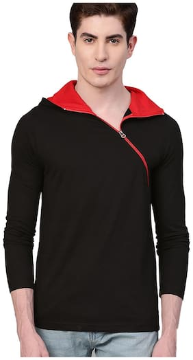 EYEBOGLER Men Black Regular fit Cotton Hood T-Shirt - Pack Of 1