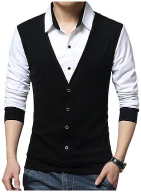 EYEBOGLER Cotton Colorblocked Black & White Color T-Shirt For Men