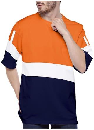 EYEBOGLER Men Multi Loose fit Cotton Round Neck T-Shirt