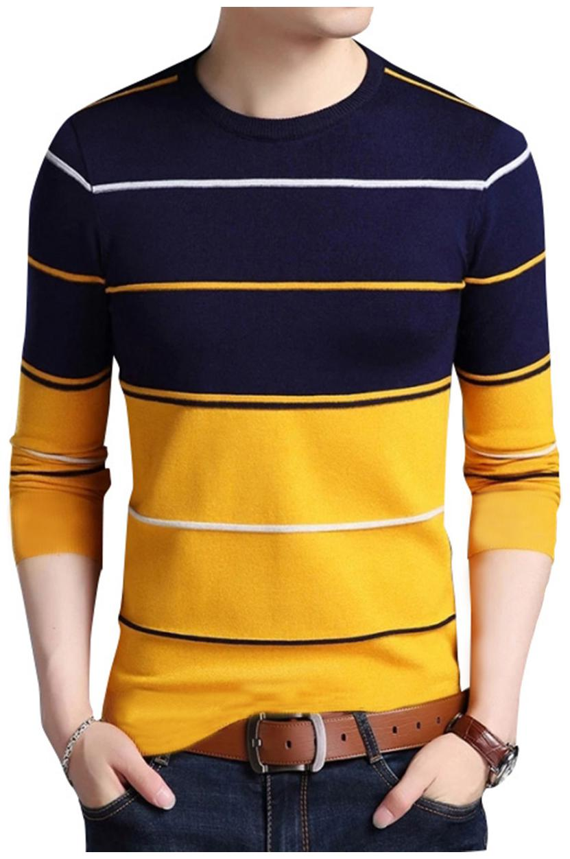 EYEBOGLER Cotton Striped Yellow Tshirt For Men