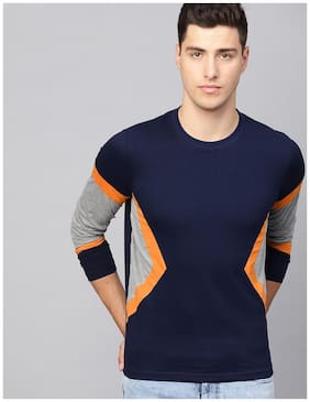 EYEBOGLER Men Navy blue Regular fit Cotton Round neck T-Shirt - Pack Of 1