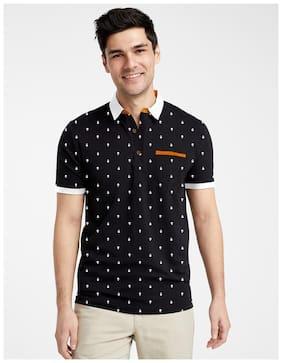 EYEBOGLER Men Black Regular fit Cotton Polo collar T-Shirt - Pack Of 1