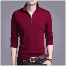 EYEBOGLER Men's Regular Fit Casual Wear Solid Pattern Polo Collar Cotton Fabric Full Sleeves Tshirt  Pack Of 1 Wine Color