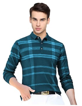 EYEBOGLER Men's Regular Fit Cotton Fabric Casual Wear Printed Pattern Full Sleeves Polo Collar T-Shirt Pack Of 1(Teal)