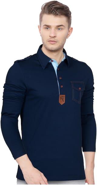 EYEBOGLER Men Blue Regular fit Cotton Polo Collar T-Shirt