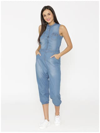db53a56bd1a0 Buy eyelet Solid Jumpsuit - Blue Online at Low Prices in India ...
