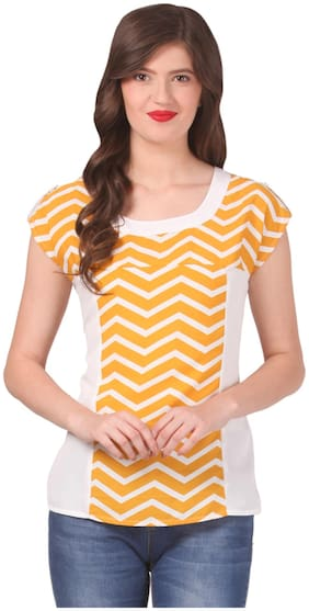 Eyelet Women Polyester Printed - Regular top Yellow