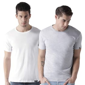 eysom Men Grey & White Regular fit Cotton Round neck T-Shirt - Pack Of 2