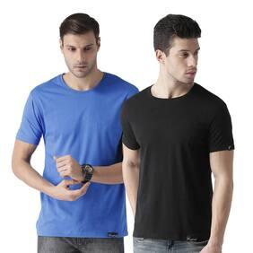 eysom Men Black & Blue Regular fit Cotton Round neck T-Shirt - Pack Of 2