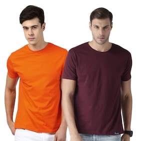 eysom Men Orange & Maroon Regular fit Cotton Round neck T-Shirt - Pack Of 2