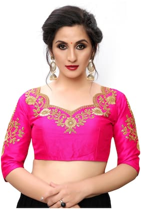 Fab Dadu Women Semi Stitched Silk Blouse -Pink