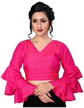 Fab Dadu Women Pink Silk Blouse With V Neck