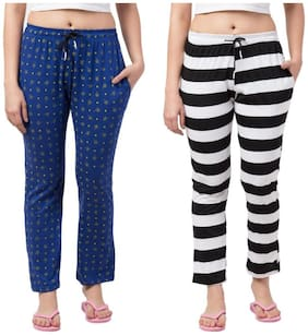 FAB FOREVER Women Cotton Blend Printed Multi Track Pants