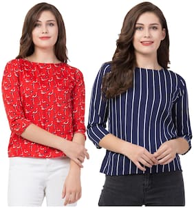 FAB FOREVER Women Printed Regular top - Red & Blue