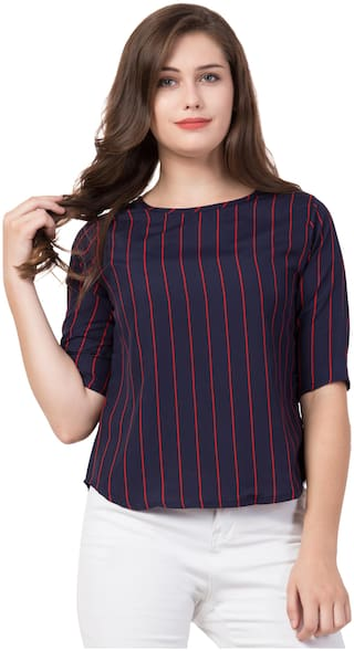 FAB FOREVER Women Striped Regular top - Blue
