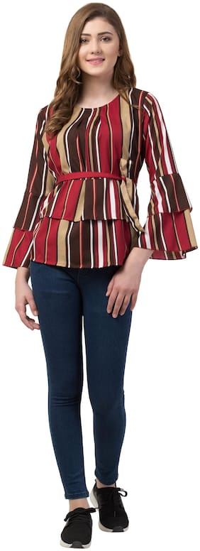 FAB FOREVER Women Striped Regular top - Multi