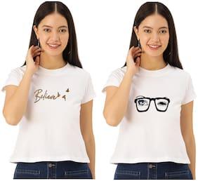 FAB FOREVER Women White Regular fit Round neck Cotton T shirt
