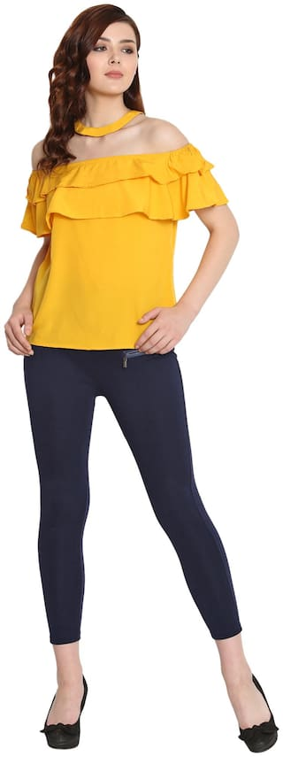 FAB FOREVER Women Solid Regular tunic - Yellow