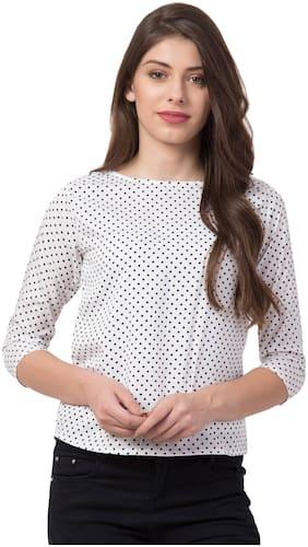 FAB FOREVER Women Polka dots Regular top - White