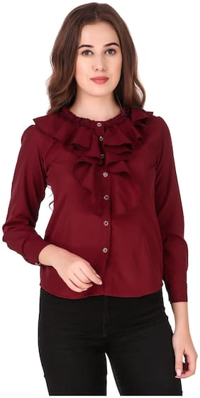 FAB FOREVER Women Solid Shirt style - Maroon