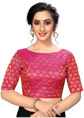 FAB VIVA Silk Semi Stitched Party Blouse Pink