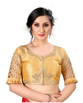 FAB VIVA Women Silk Semi Stitched Blouse - Beige