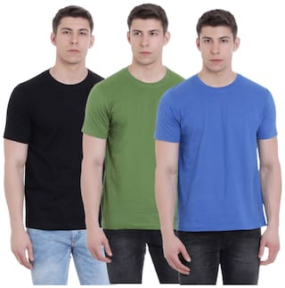 a96cdcdd083 Buy FAB69 Solid Men s Round Neck 3 pcs combo T-Shirt Online at Low ...