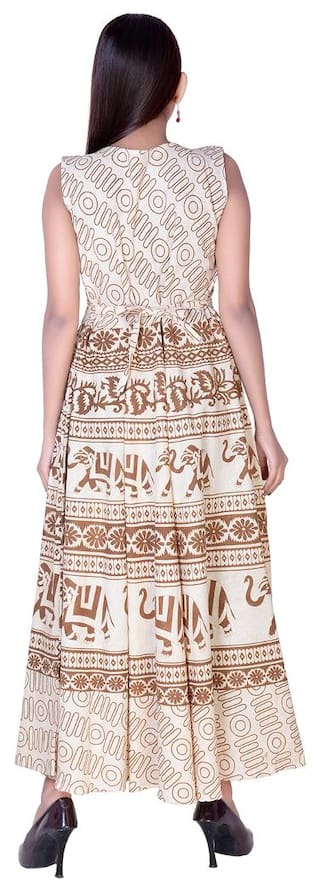 Ankel Dress Length Animal Cotton Free Indo Beige Maxi fabColors Print Size Western 0pwBq