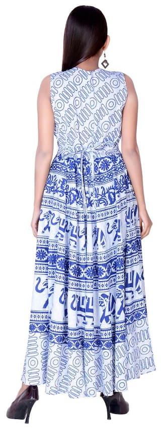 Free Animal Maxi Dress amp; Indo Length Print fabColors Western Size Cotton White Ankel Blue wIdAqxvx